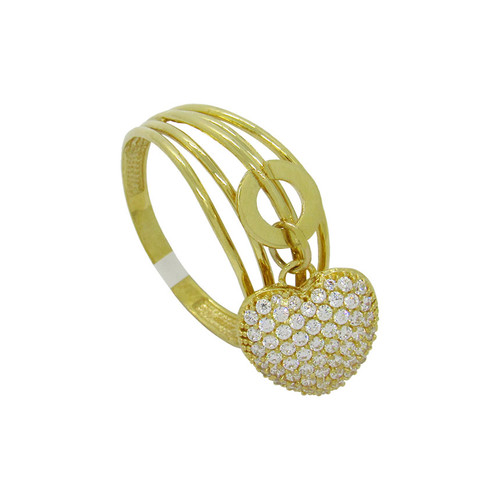 Anel de ouro 18k com pingente coração com zircônia branca