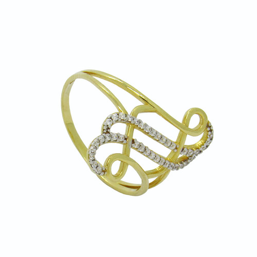Anel de ouro 18k estilizado com safira branca 21,64mm