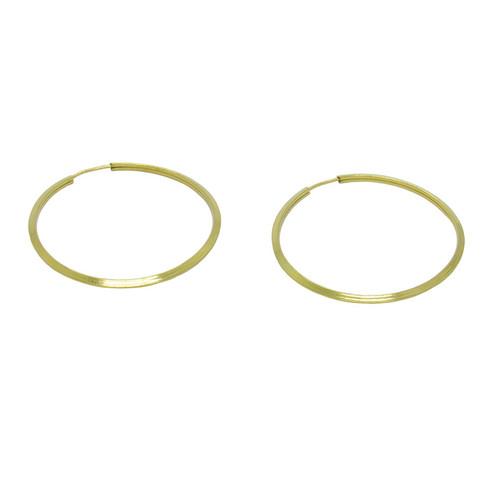 Brinco de argola de ouro 18k chanfrado 28,60mm