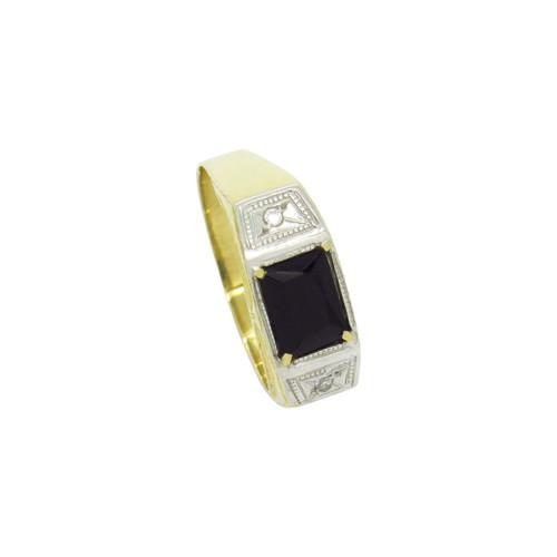 Anel de formatura de ouro 18k com ônix sintético e safira branca 8,00mm