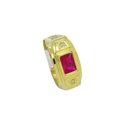 Anel de formatura de ouro 18k com brilhante e rubi 10,24mm