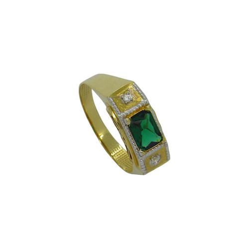 Anel de formatura de ouro 18k com jade sintético e safira branca 7,76mm
