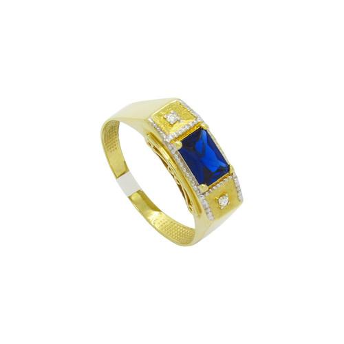 Anel de formatura de ouro 18k com brilhante e safira azul 7,80mm