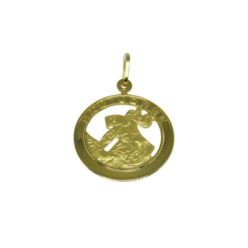 Pingente de ouro 18k medalha de são jorge 21,0mm