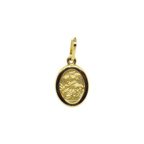 Pingente de ouro 18k medalha de são jorge 14,47mm