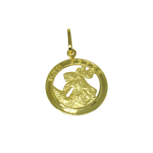 Pingente de ouro 18k medalha de são jorge 15,94mm