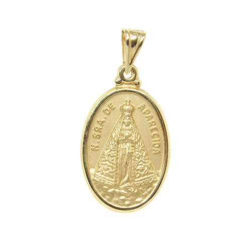 Pingente de ouro 18k medalha de nossa senhora 26,90mm