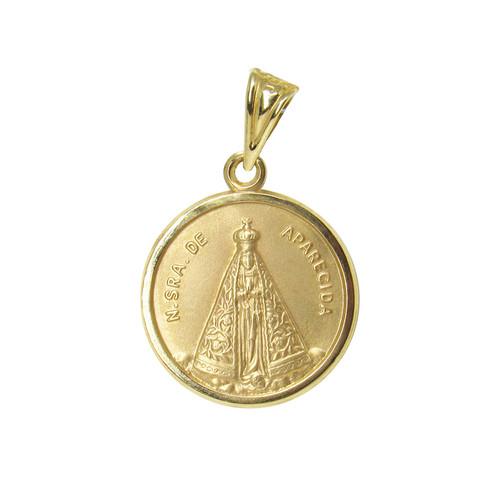 Pingente de ouro 18k medalha de nossa senhora 18,39mm