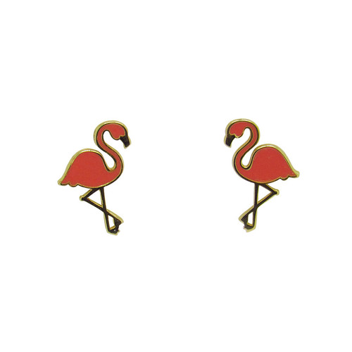 Brinco de ouro infantil 18k flamingo 13,50mm