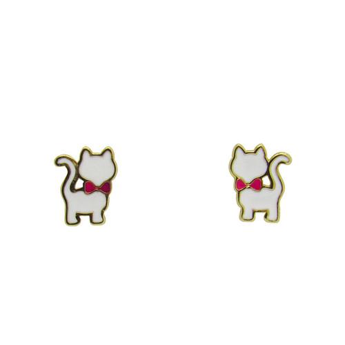 Brinco de ouro infantil 18k gato 8,00mm