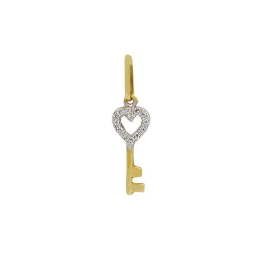 Pingente de ouro 18k chave com zircônia 16,55mm