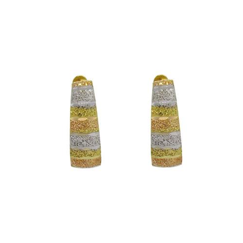 Brinco de ouro 18k 3 cores com fecho trava 15,00mm