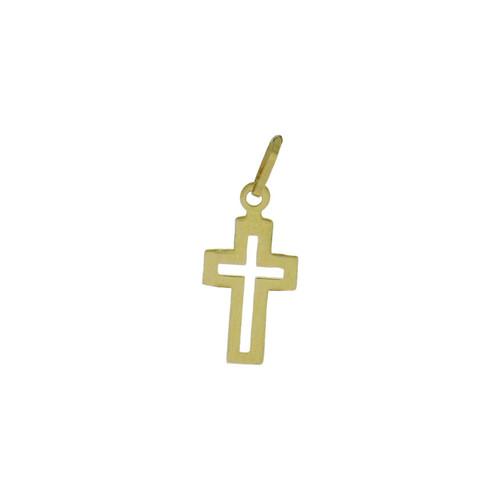 Pingente de ouro 18k cruz vazado 13,70 mm
