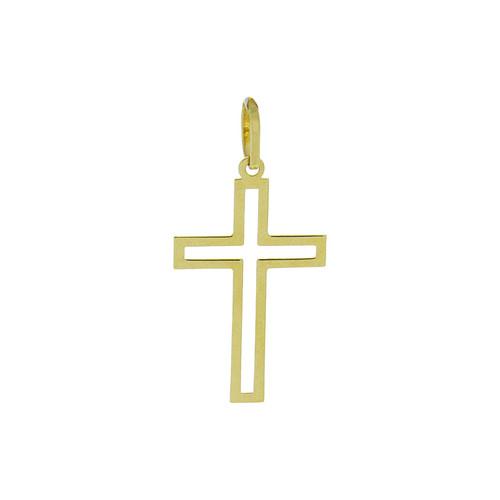 Pingente de ouro 18k cruz vazado 30,75 mm