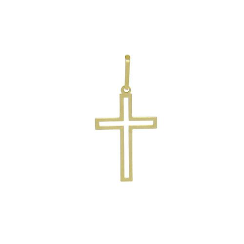 Pingente de ouro 18k cruz vazado 20,63 mm