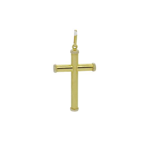 Pingente de ouro 18k cruz tubo 28,15 mm