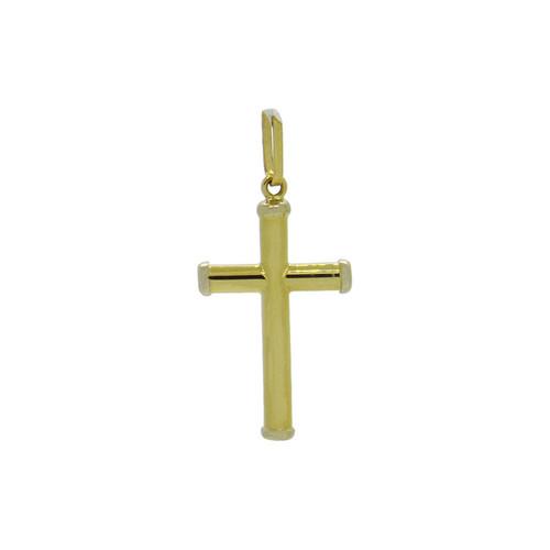 Pingente de ouro 18k cruz tubo 22,60 mm