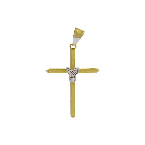 Pingente de ouro 18k cruz palito com nó de ouro branco 31,91 mm