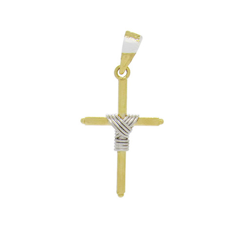 Pingente de ouro 18k cruz palito com nó de ouro branco 21,0 mm