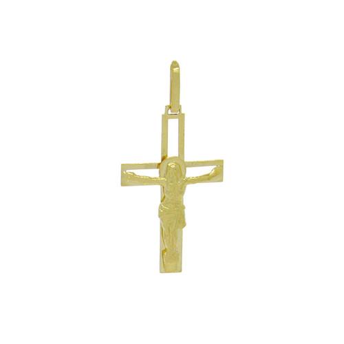 Pingente de ouro 18k cruz vazado com Cristo 30,12 mm