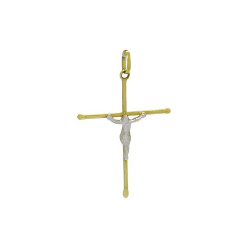 Pingente de ouro 18k cruz palito com Cristo de ouro branco 31,12 mm