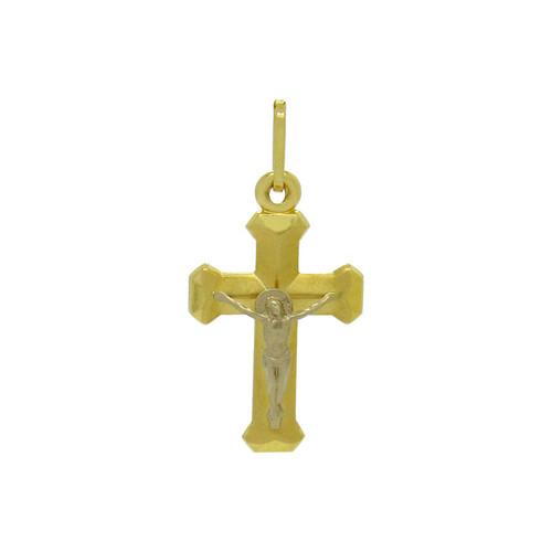 Pingente de ouro 18k cruz com Cristo de ouro branco 30,32 mm