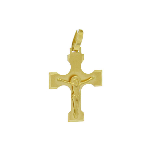 Pingente de ouro 18k cruz com Cristo 28,0 mm