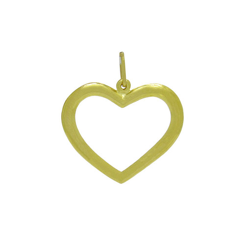 Pingente de ouro 18k coração vazado 28,75 mm