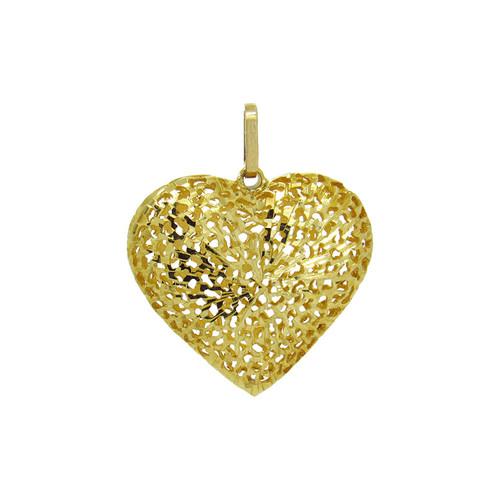 Pingente de ouro 18k coração trabalhado 26,10 mm