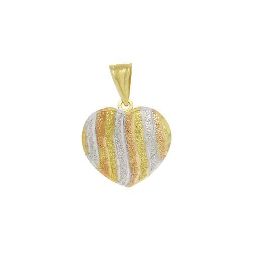 Pingente de ouro 18k coração 3 cores 18,0 mm
