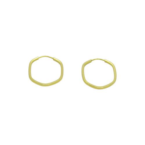 Brinco de argola de ouro 18k hexagonal 16,64 mm