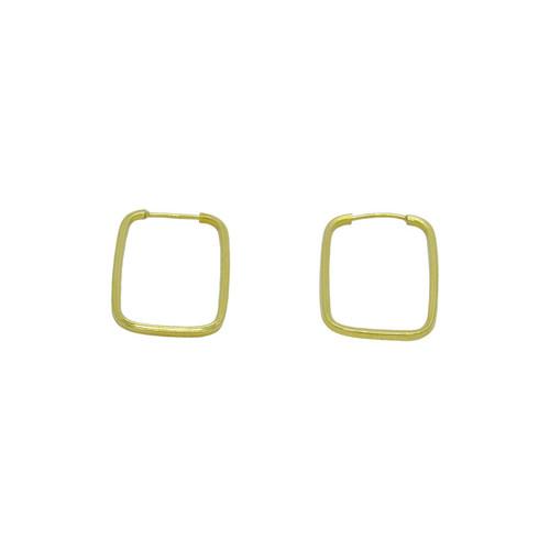 Brinco de argola de ouro 18k retangular 19,23 mm
