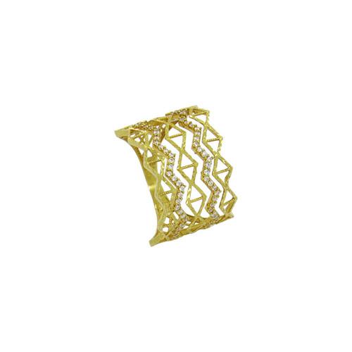Anel de ouro 18k trabalhado com zircônia 14,79 mm