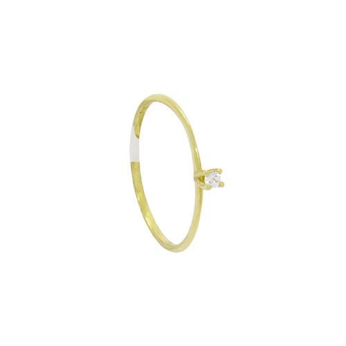 Anel de ouro 18k solitário com zircônia 2,31 mm