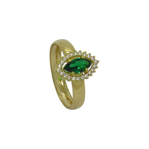 Anel de formatura de ouro 18k com zircônia e turmalina verde 12,92 mm