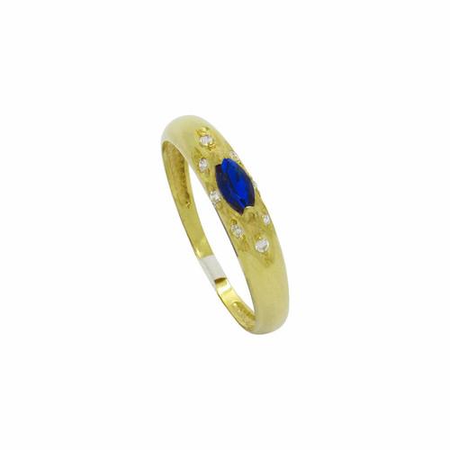Anel de formatura de ouro 18k com safira azul e branca 6,30 mm