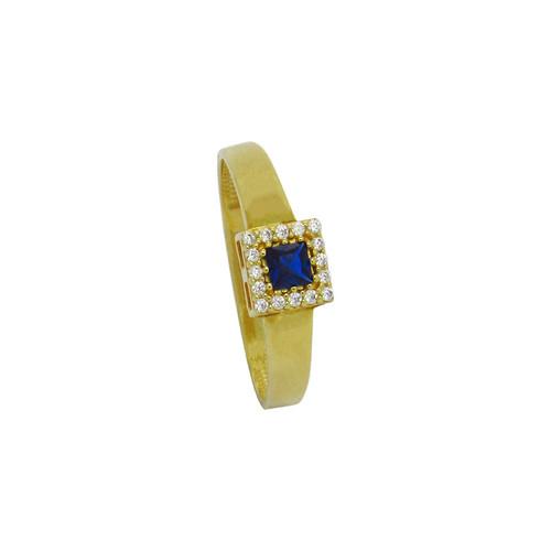 Anel de formatura de ouro 18k com safira azul e zircônia branca 6,03 mm