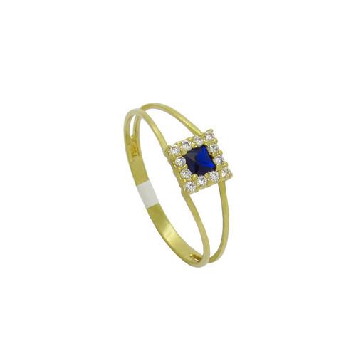 Anel de formatura de ouro 18k com safira azul e zircônia branca 6,15 mm