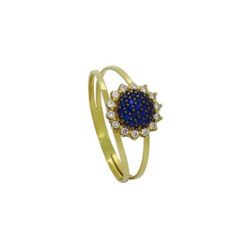 Anel de formatura de ouro 18k com safira azul e zircônia branca 9,46 mm