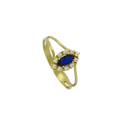 Anel de formatura de ouro 18k com safira azul e zircônia branca 6,21 mm