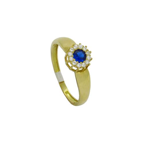 Anel de formatura de ouro 18k com safira azul e zircônia branca 6,92 mm