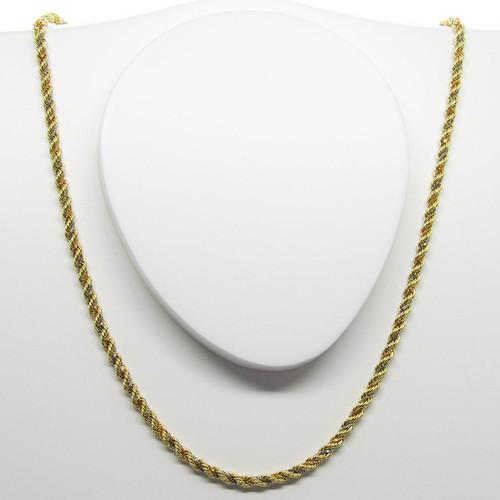 Corrente de ouro 18k cordão baiano 3 cores 2.30mm com 40cm