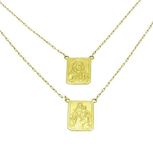 Escapulário de ouro 18k Nossa Senhora do Carmo e Sagrado Coração de Jesus 16,35 mm 60cm