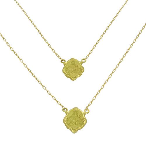 Escapulário de ouro 18k Nossa Senhora do Carmo e Sagrado Coração de Jesus 16,0 mm 60cm