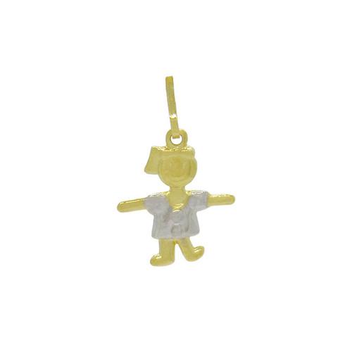 Pingente de ouro 18k menina com roupa 14,5 mm