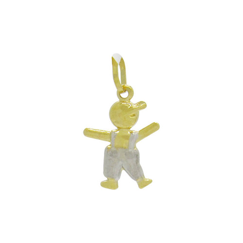 Pingente de ouro 18k menino com macacão 15,5 mm