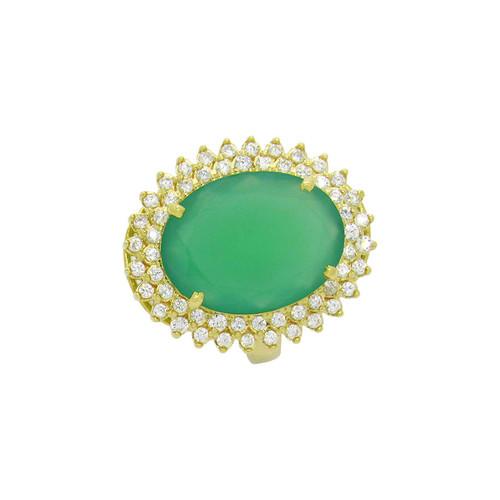 Anel de ouro 18k com jade e safira branca