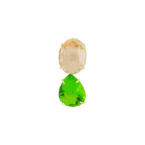 Pingente de ouro 18k com morganita e jade 20,0 mm