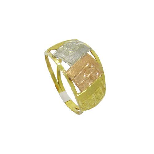 Anel de ouro 18k 3 cores 11,0 mm