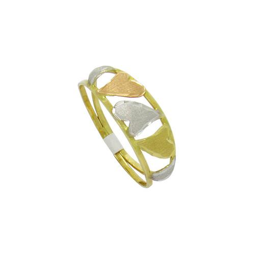 Anel de ouro 18k 3 corações 3 cores 7,10 mm